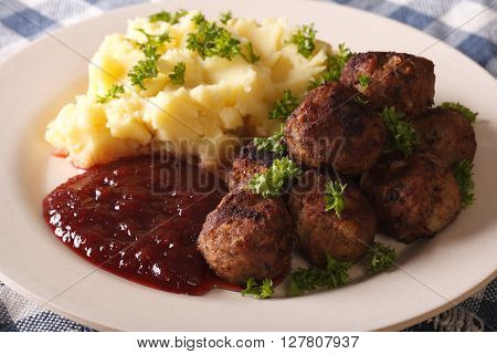 Fried Meatballs, Lingonberry Sauce With Potato Garnish Close-up. Horizontal