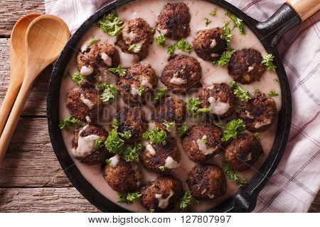 Swedish Meatballs Kottbullar With Lingonberry Sauce Closeup. Horizontal Top View