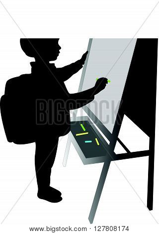 a school boy writing on board, silhouette vector