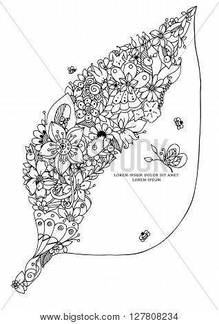 Vector illustration zentangl leaf with flowers. Hidden fox, bird, rabbit, hedgehog. Forest, garden, spring, bloom. Coloring book anti stress for adults. Black and white.