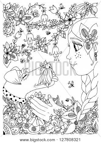 Vector illustration of a girl with freckles zentangl hugging dog fox terrier. Doodle flowers, frame, forest, garden. cartoon. Coloring book anti stress for adults. Black and white.