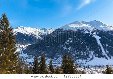 Beautiful View Of Davos In Winter