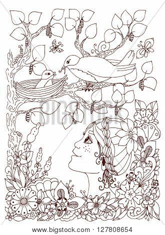 Vector illustration zentangl girl child with freckles looks at the bird's nest. Doodle flowers frame wood. Coloring book anti stress for adults. Brown and white.
