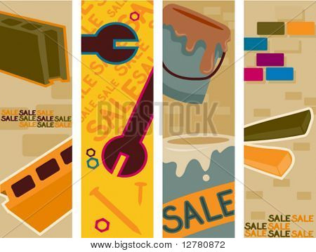Hardware Sale Vertical Banners - Vector