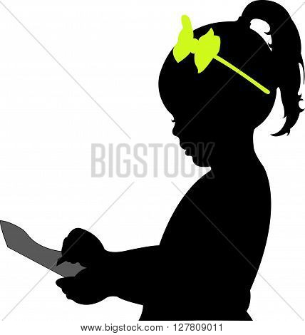 School childhood. Girl taking note, silhouette vector