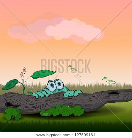 Vector illustration of a green frog sitting around a log. Funny grasshoppers jump