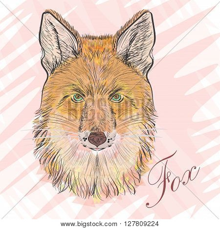 Artful Orange fox. Vector illustration of-poligons. Predatory animal