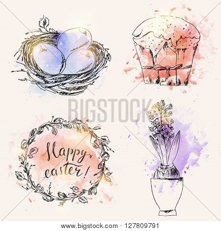 Hand drawn easter symbols set. Ink bird nest easter eggs easter cake spring hyacinth flower. Happy easter hand lettering in flower wreath. Grunge watercolor splash background.