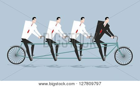 Tandem Managers. Businessmen Riding Bicycle. Corporate Walk. Boss Ahead. Director Steering. Line Of
