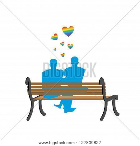 Gays On Bench. Appointment Of Two Blue Men. Romantic Lgbt Illustration. Love Rainbow