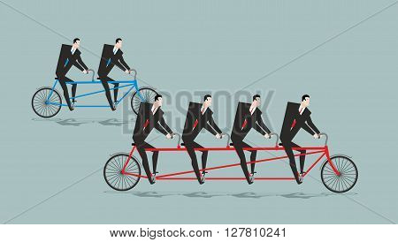Business Team On Tandem. Long Bike. Many Managers. Large Company Ahead Of Small Organization.