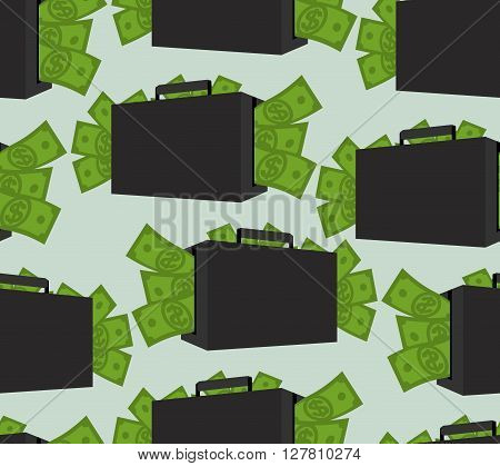Suitcase With Money Seamless Pattern. Case With Cash Ornament. Texture Of Many Dollars