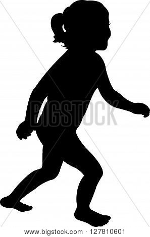 Black color vector silhouette of a running girl