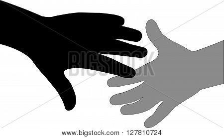 hand in hand, black color silhouette vector