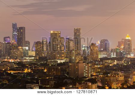 Aerial view Bangkok city downtown business area night view