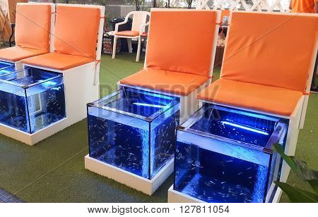 Doctor fish, fish treatment, fish spa, full HD.