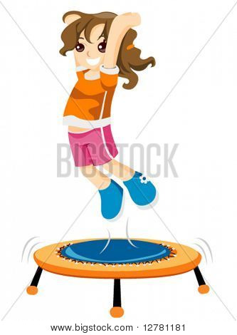 Child on Trampoline - Vector