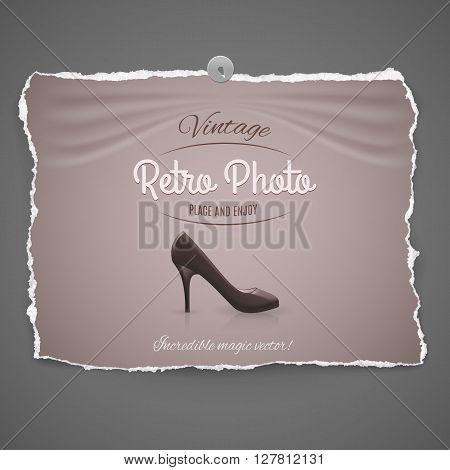 elegant high-heeled leather female shoe vintage retro photo with pushpin on gray background