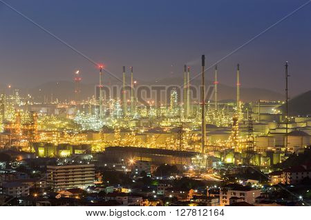 Petrochemical power plant at night, East of Thailand