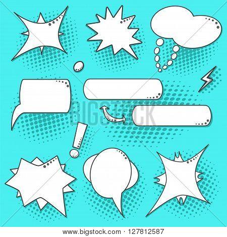 Blue Pop Art Speech Bubbles Set