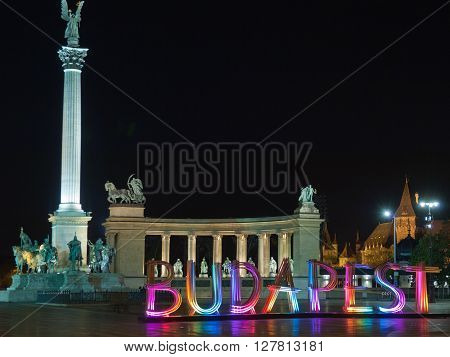 Colorfully lit wooden installation of letters forming the word Budapest on Heroes' Square, on April 18 , 2016 in Budapest, Hungary. The attraction related to and promote Budapest Spring Festival.