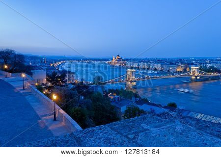 Evening view of Budapest from Buda Castle, Budapest, Hungary