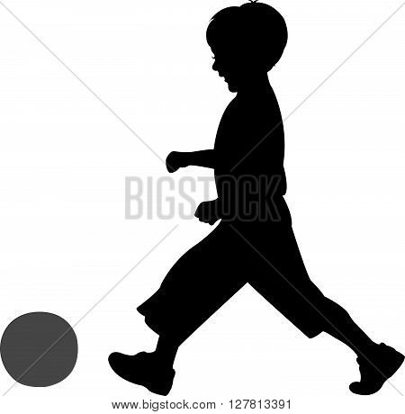 playing with ball, sblack color ilhouette vector