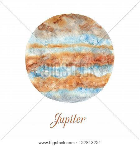 Planet Jupiter. Watercolor illustration isolated on white background