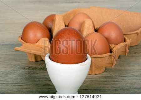 An egg in an eggcup with a carton of eggs to the rear.