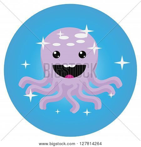 Octopus icon app mobile flat. Squid and octopus isolated octopus swimming in sea animal in ocean underwater with tentacle. Vector flat design illustration