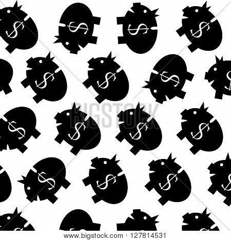 Piggy bank pattern black white. Money bank finance and piggy with cash pattern. Vector flat design illustration