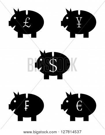 Set of piggy bank black white icon. Yen wealth currency and investment cash euro dollar moneybox franc icon.Vector flat design illustration