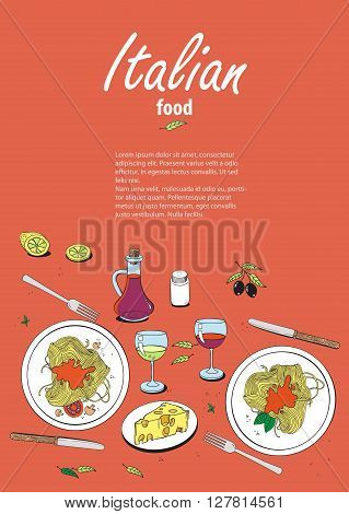 Vector cooking banner template with hand drawn objects on italian food theme: pizza pasta tomato olive oil olives cheese lemon sauce. Ethnic cuisine concept. Italian cuisine hand drawn objects.Vector food illustration for kitchen and cafe