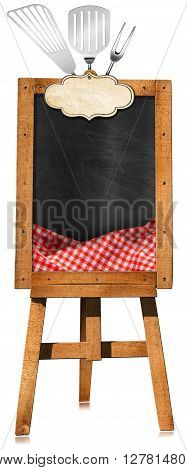 3D illustration of an empty blackboard with wooden frame checkered tablecloth and kitchen utensils on a wooden tripod. Isolated on white