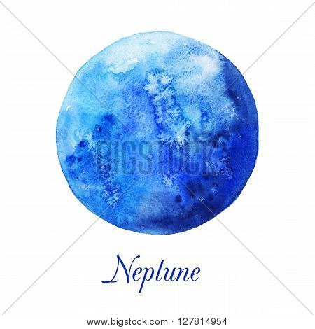 Planet Neptune. Watercolor illustration isolated on white background