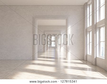 Sunlit concrete interior design with wooden floor and archway. 3D Rendering