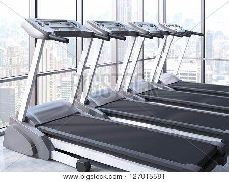 Sideview of treadmills in room with windows and New York city view. 3D Rendering