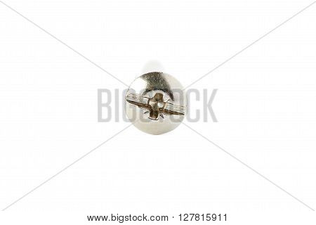 Gray Metal screw isolated over the white background