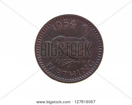One farthing coin (GBP) released in 1954