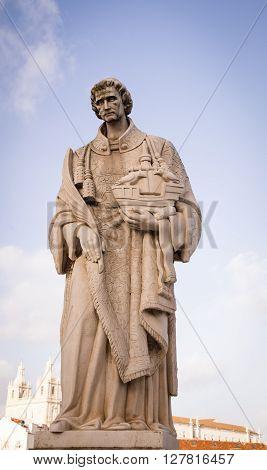 Statue of Saint Vincent holding a ship in lisbon