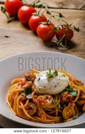 Italian Pasta With Poached Egg
