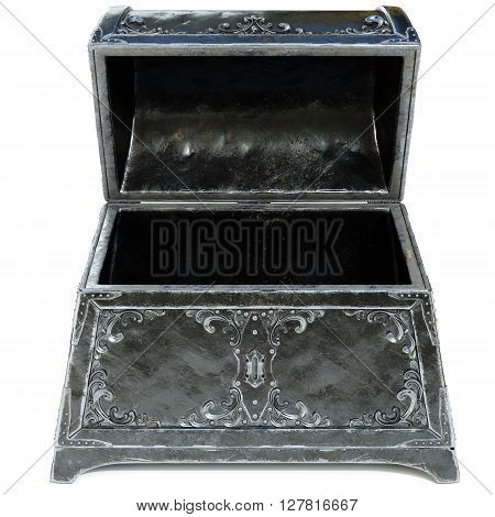 old metal chest. isolated on a white background. 3D illustration.