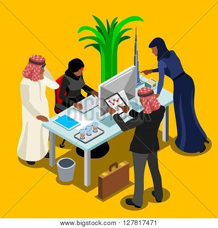 Arabic Business Meeting of Middle Eastern Arab Businessman 3D Flat Isometric People Set. Muslim people man character at modern office room infographic. Isolated Vector Image