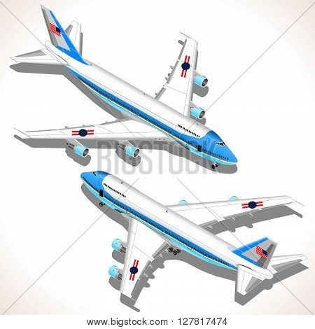 Aircraft Flat 3D isometric airplane vehicles. Plane Infographic elements. Vector airplanes. Big aeroplane isolated object.