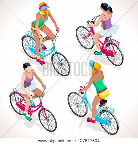 Teen Cyclist Riding Bicycle. Isometric Cyclists. Cycling sport. Flat 3D Isometric People Collection. Isolated Cyclists and Bicycle Object. Vector Cyclists. Cycling icon.