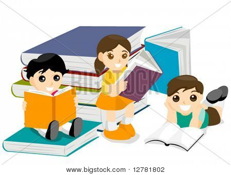 Kids Reading Books - Vector