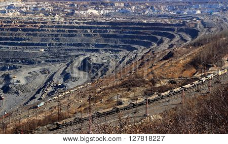 huge quarry for the extraction of iron ore from moving train Gubkin Russian
