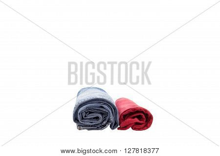 blue jean and red t-shirt isolated on white background