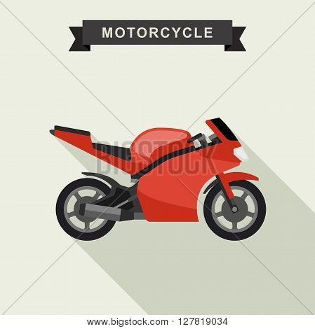 Red sport bike in flat style. Motorcycle vector illustration.