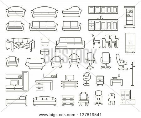 Icons of various kinds of furniture for home and office